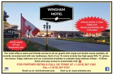 WINGHAM MOTEL  SPECIAL RATES & LONG TERM STAY