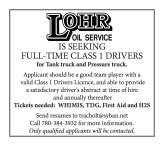 LOHR OIL SERVICE IS SEEKING FULL-TIME CLASS 1 DRIVERS
