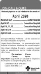 Weekend physician on-call schedule for the month of April 2020