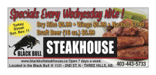 Specials Every Wednesday Nite at Black Bull Steakhouse