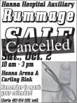 Hanna Hospital Auxiliary Rummage SALE Cancelled