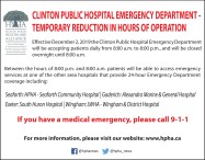 Clinton public hospital emergency department - temporary reduction in hours of operation