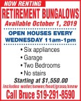 NOW RENTING RETIREMENT BUNGALOWS