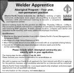 Welder Apprentice Aboriginal Program Position Available